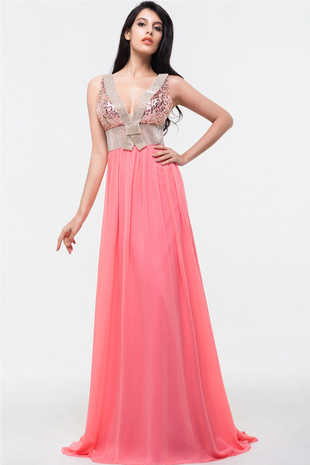 A-Line/Princess V-Neck Sweep Train Chiffon Prom Dresses With Sequins
