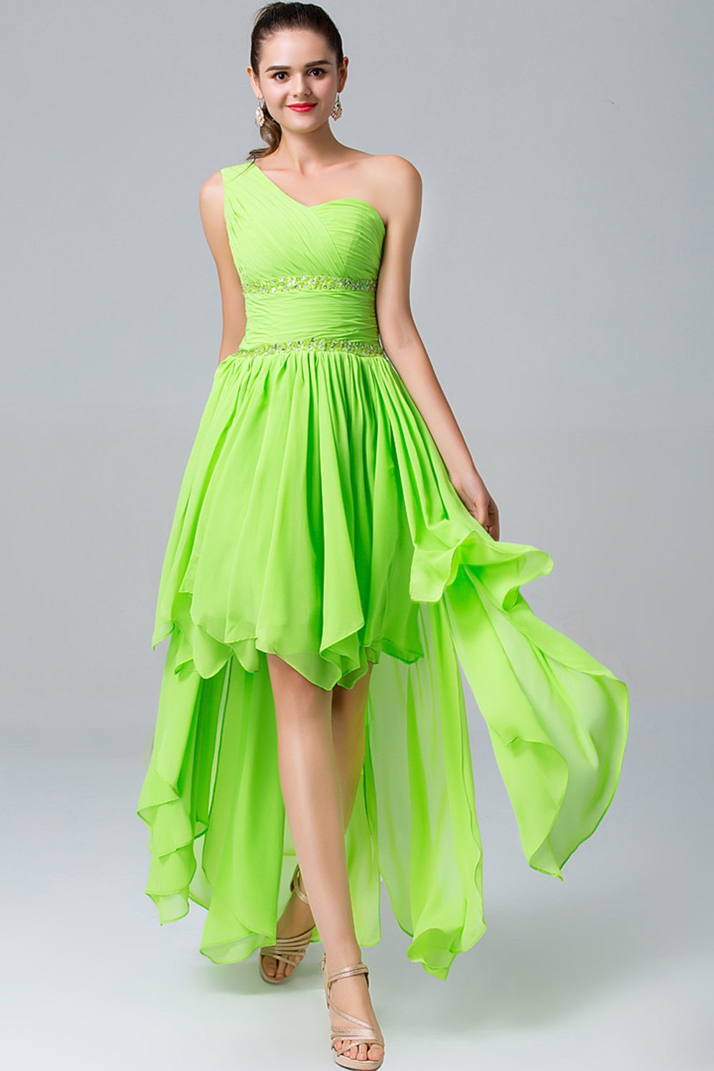 A-Line/Princess One-Shoulder Hi-Lo Chiffon Bridesmaid Dresses With Pleats