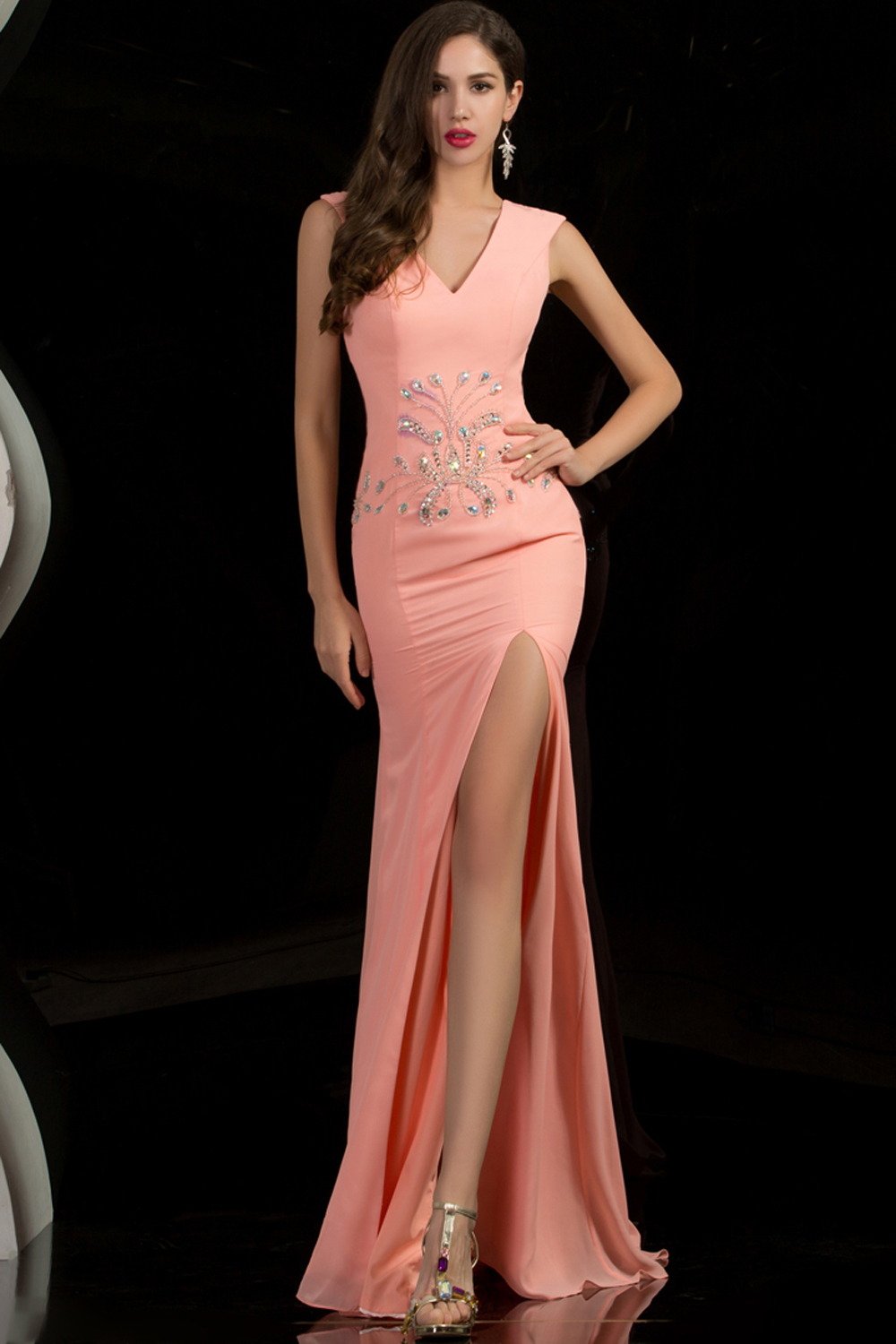 Sheath/Column V-Neck Floor Length Chiffon Evening Dress with Front Slit