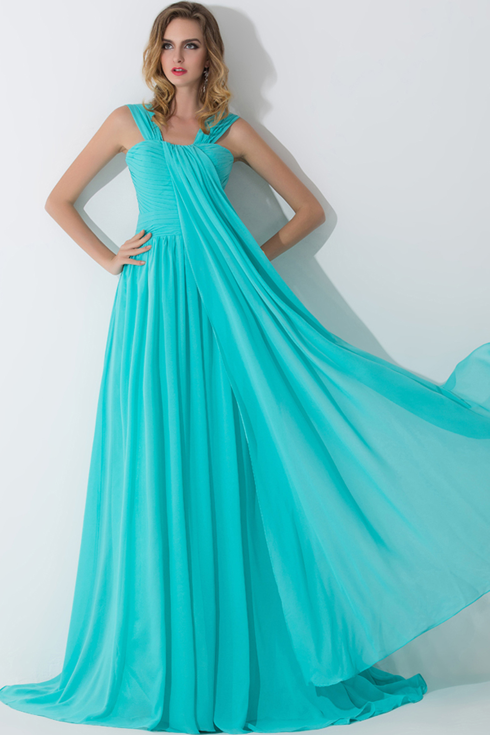 A-Line/Princess Square Neckline Floor Length Chiffon Bridesmaid Dress with Pleats