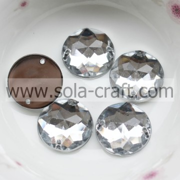 Book 25MM Transparent Silver Plastic Cut Almond Round Chain Mirroed Bead for Chandelier DIY