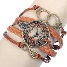 Liberdade de bronze antiga algemas de metal oco relógio Infinity moda relógio novo couro marrom fio pulseiras atacado