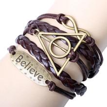 Original novo Believe vintage triângulo Harry Potter infinito pulseiras peças de metal marrom pulseira DIY de cor por atacado