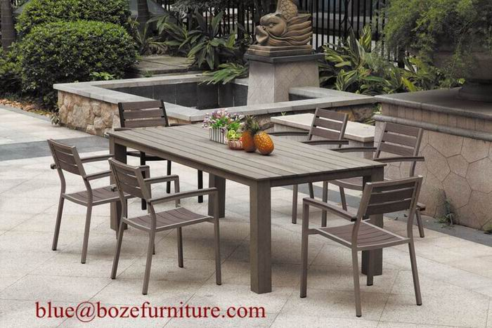 Poly Wood Dining Set Outdoor Plastic Wood Furniture BZ