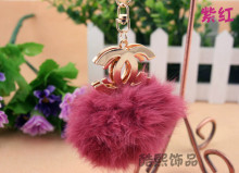 Real rabbit fur ball creative big double c crystal key chain ladies rhinestones fur ball key pendant fashion keyring