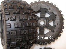 Rovan buggy off road tires on 6 spoke rims