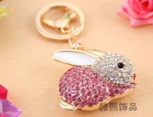 Creative Zodiac rabbit key chain with rhinestones cute crystal rabbit Keychain woman bag accessories metal key ring supplier