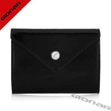 Envelope European Ladies Leather Wallets Bags / Black Leather Coin Purse