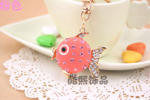 New promotional cartoon fish crystal keychain Valentines Day gifts couples resin stone fashion key ring