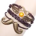 original novas bugigangas de Vintage infinito pulseiras retrô que mascarar-asas de anjo barbudo bracelete de bronze metal tecido fio marrom