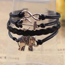 novo original âncora e elefante charme infinito pulseiras preto couro cordão pulseira feitas à mão jóias de prata por atacado