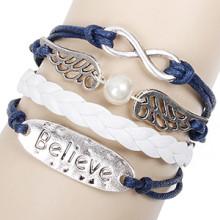 DIY asas de anjo Believe metais mão-tecidos pearl Infinity pulseira jóias couro azul cera cabo pulseiras atacadas