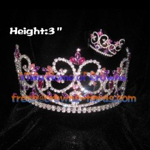 3inch Colorful Crystal wholesale Pageant Crowns