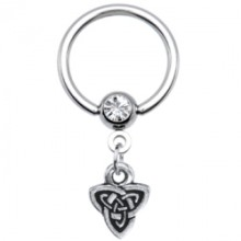 14 Gauge Celtic Triad Dangle Captive Ring