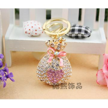 Creative crystal 3D purse key chain men and women rhinestone wallet bags accessories fashion key ring wholesale