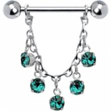 Blue Zircon Jeweled Essence Chain Drop Nipple Ring
