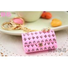 fashion key chains creative brand double c bag exquisite girlfriend gifts crystal 3D handbag key chains