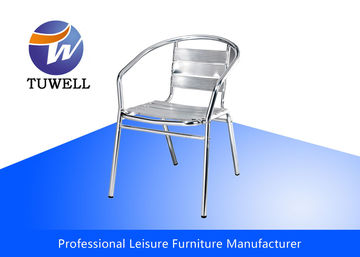 Outdoor Stackable Waterproof Aluminum Dining Chair For Sidewalk Cafe