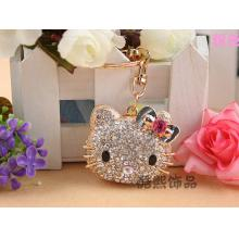 Creative cute HELLO KITTY Cat Head full rhinestone Keychain girlfriend gift hand bag ornament crystal key ring