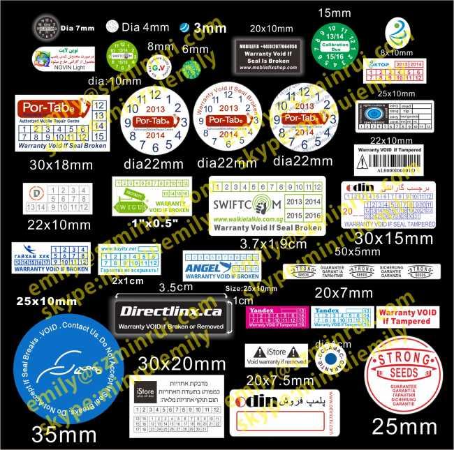 Custom round warranty stickers with datelogodestructible warranty cell phone labelswarranty void if