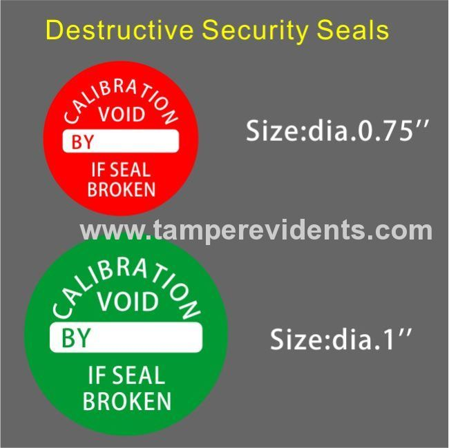 Custom destructive calibration labelstamper evident qc security sealsround destructible calibration void stickers