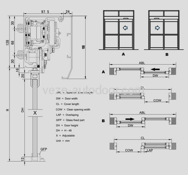 Принципиальная схема раздвижных дверей