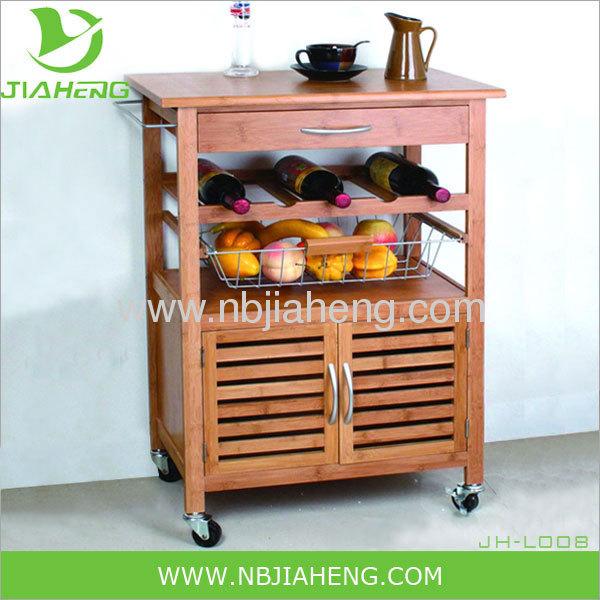 Bambus und Metall Küche Wagen mit großen Schrank und Weinregal ...