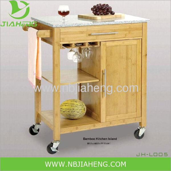 Legno di bambù Osaka rotolamento carrello Utility cucina con Top in ...
