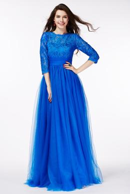 A-Line/Princess Jewel Neck Floor Length Tulle Prom Dress with Lace