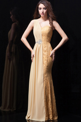 A-Line One-Shoulder Floor Length Chiffon Prom Dresses with Applique