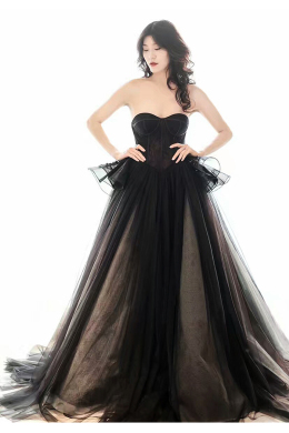 A-Line/Princess Tulle Floor-Length Perfect Little Black Dress