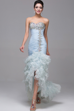 Sheath/Column Strapless Floor Length Tulle Quinceanera Dress with Beadings