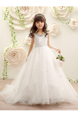 A-Line/Princess Tulle Sweep Train Childrens Flower Girl Dress