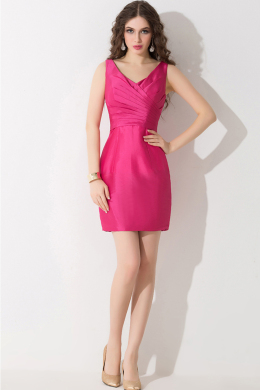 Sheath/Column V-Neck Mini-Length Taffeta Cocktail Dress with Pleats