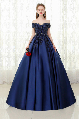 Ball Gown Off-Shoulder Sweep Train Satin Evening Dress with Beads