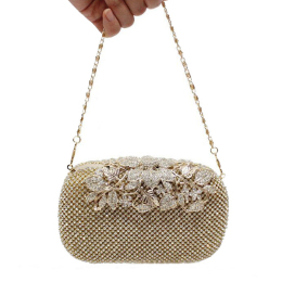 Womens Pearl Bead Rhinestone Evening Clutch Fashion Purse