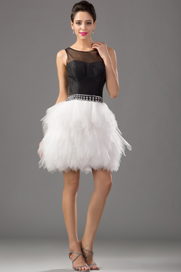A-Line/Princess Jewel Neck Knee Length Tulle Cocktail Dress with Ruffles