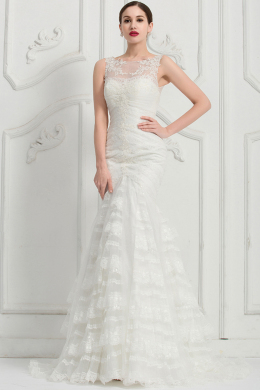 Mermaid/Trumpet Jewel Neck Sweep Train Organza with Ruffles