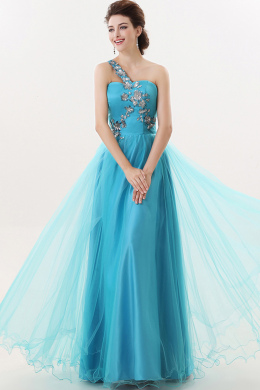 A-Line/Princess One-Shoulder Floor Length Tulle Prom Dress with Sequins