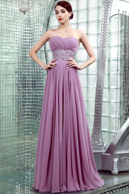 A-Line/Princess Sweetheart Neckline Floor Length Chiffon Prom Dresses with Beads