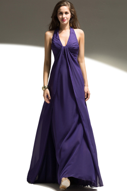A-Line/Princess Halter Floor Length Chiffon Bridesmaid Dresses with Ruffle