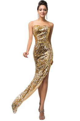 Sheath/Column Sequined Floor-Length Dresses for Moms of the Groom