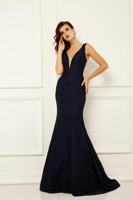 Trumpet/Mermaid V-Neck Floor Length Lace Evening Dress with Embroidery