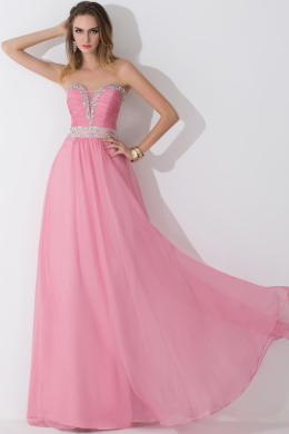 A-Line/Princess Strapless Floor-Length Chiffon Prom Dress with Beads