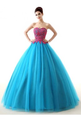 Ball Gown Tulle Floor Length Quinceanera Dresses for Girls