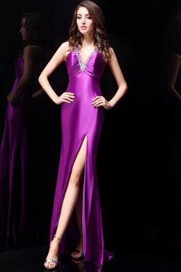 A-Line V-Neck Sweep Train Elastic Satin Evening Dresses with Beads