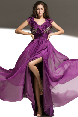 A-Line/Princess Scoop Neckline Floor Length Chiffon Evening Dress with Flowers