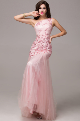 Sheath/Column One-Shoulder Floor Length Tulle Prom Dress with Beaded