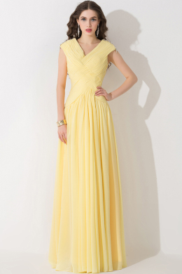 A-Line/Princess V-Necki Floor Length Chiffon Bridesmaid Dresses With Pleats