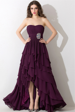 A-Line/Princess Strapless Hi-Lo Chiffon Bridesmaid Dress with Ruffles
